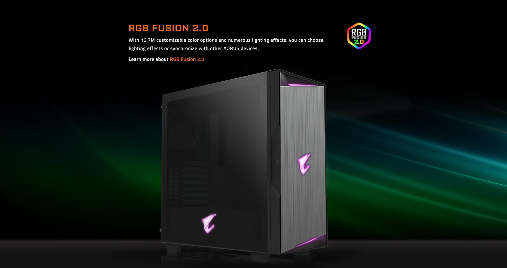 Vỏ Case Gigabyte GB-AC300G Tempered Glass Gaming (Mid Tower/Màu Đen/Led RGB) trang bị LED ở mặt trước và cạnh bên với Logo