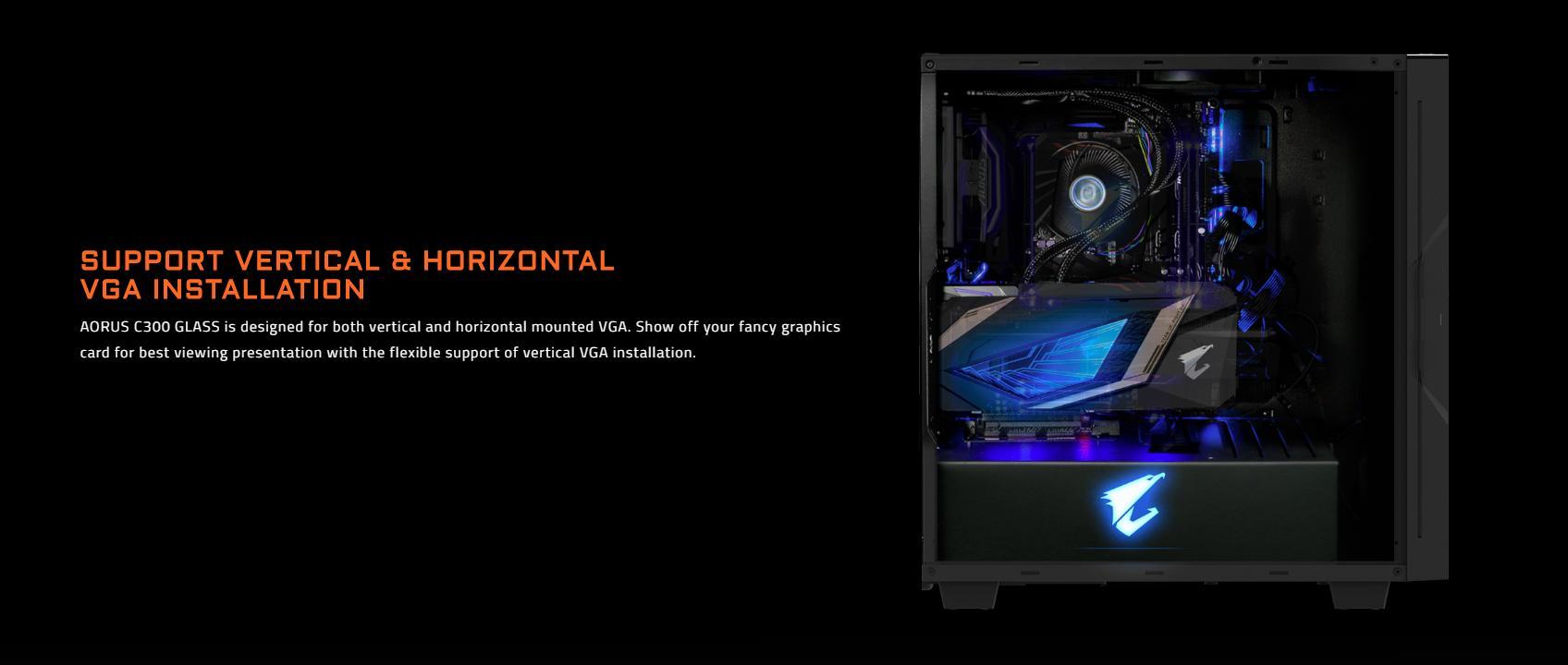 Vỏ Case Gigabyte GB-AC300G Tempered Glass Gaming (Mid Tower/Màu Đen/Led RGB) được thiết kế cho cả VGA gắn dọc và ngang