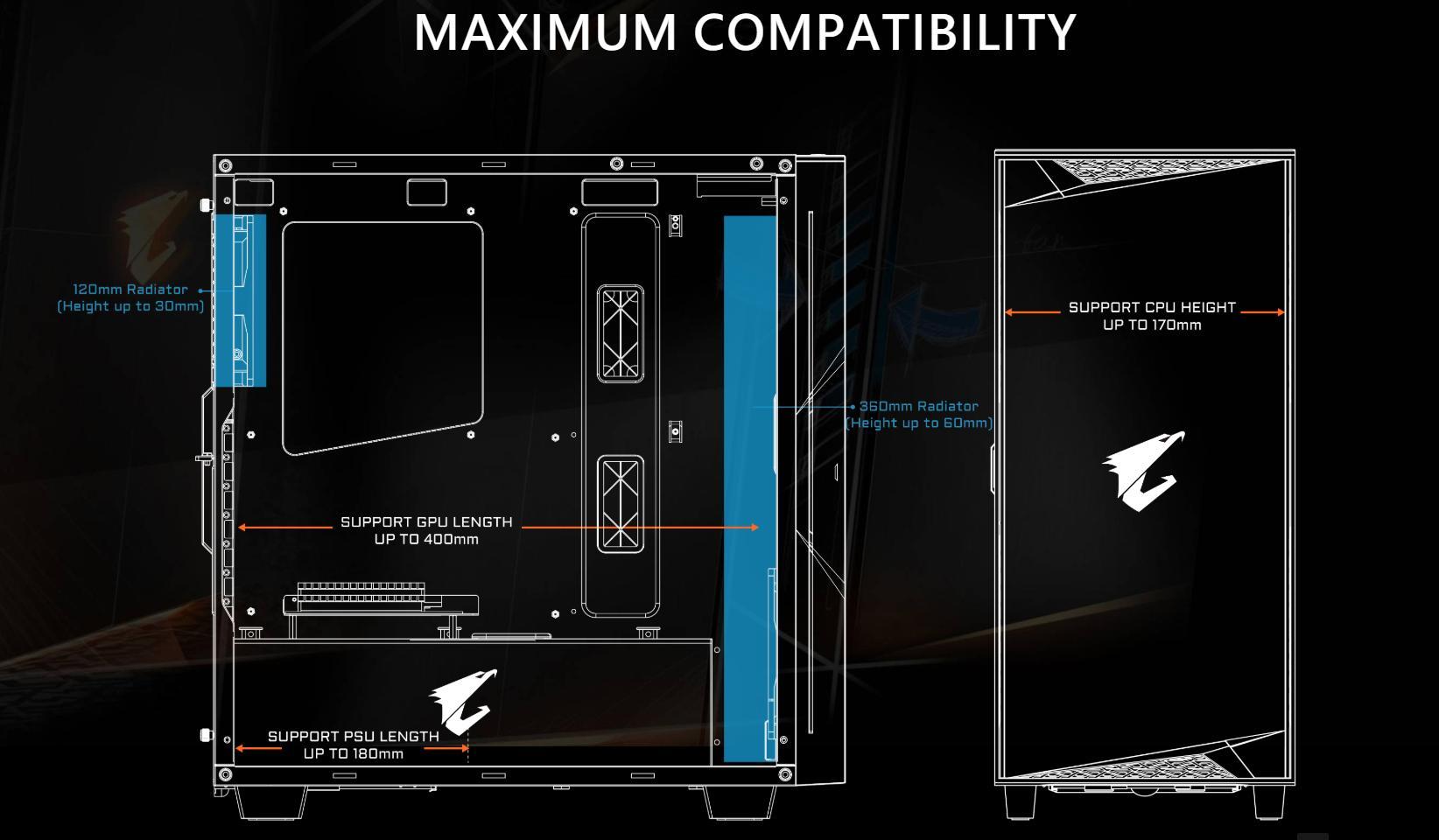 Vỏ Case Gigabyte GB-AC300G Tempered Glass Gaming (Mid Tower/Màu Đen/Led RGB) hỗ trợ hầu như tối đa các loai Main như mini-ITX/m-ATX/ATX