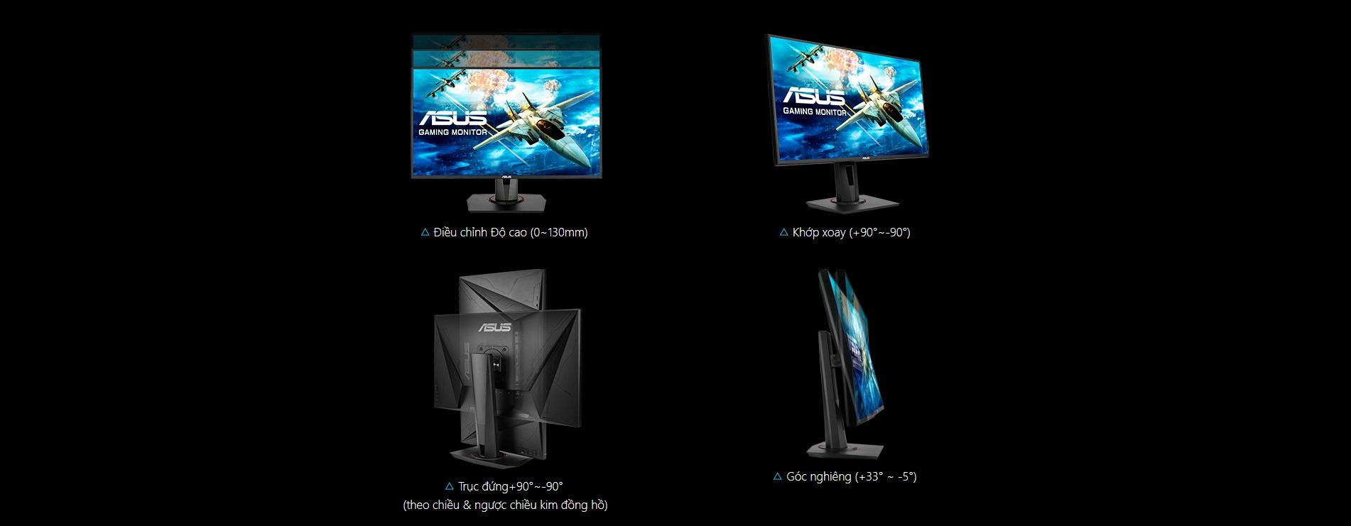Màn hình Asus VG258QR  Thiết kế công thía học