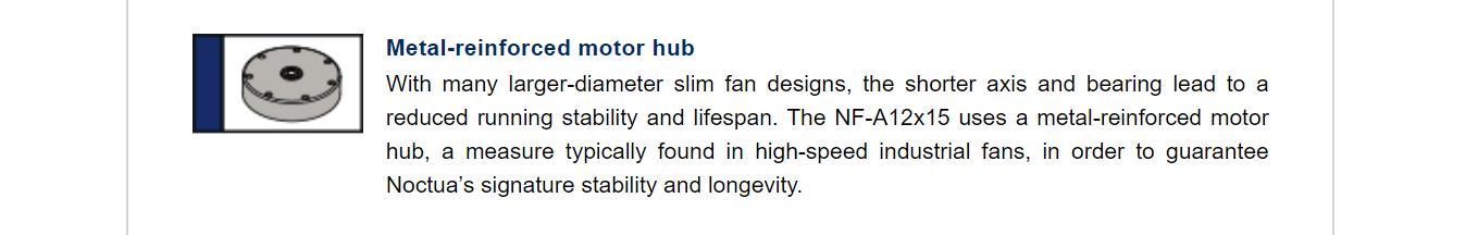Fan Case NOCTUA NF-A12x15 Black -Slim fan với motor đươc gia cố kim loại