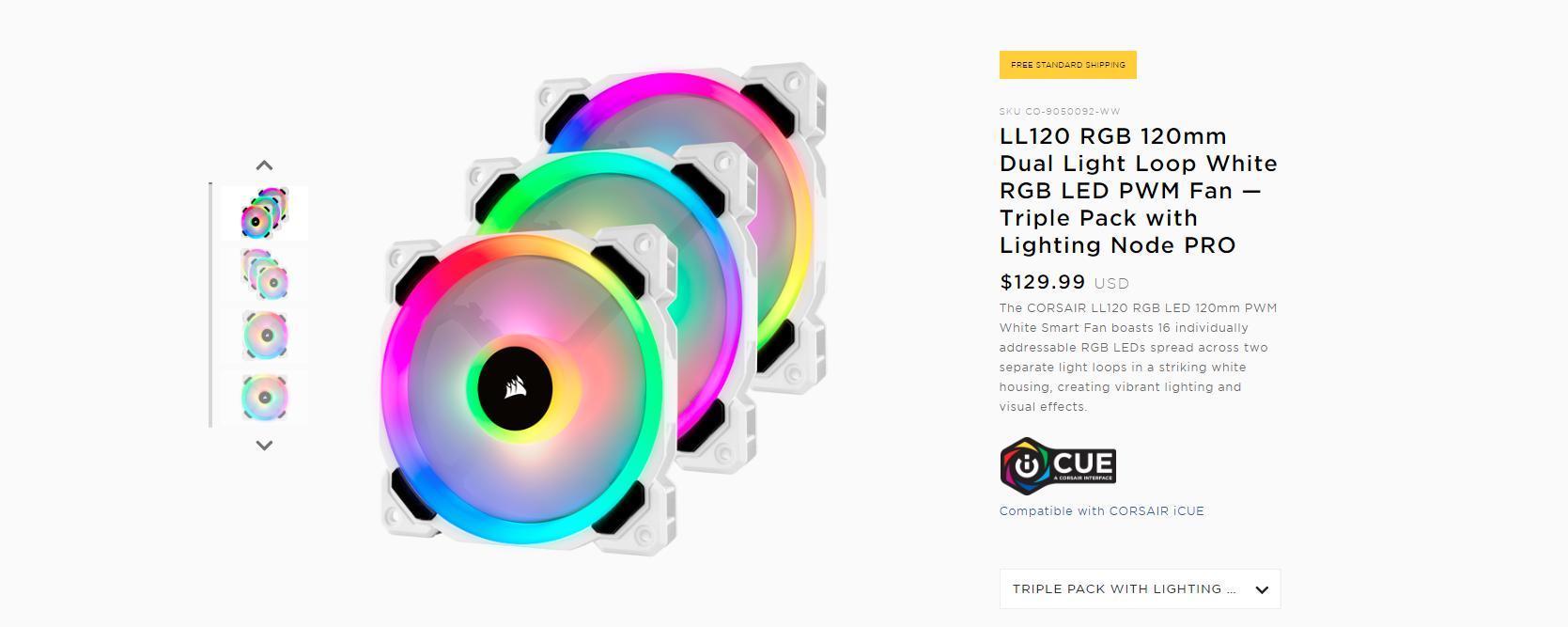Fan Case Corsair LL120 RGB 120mm Dual Light Loop RGB LED 3 Fan Pack with Lighting Node PRO - White với 16 bóng led điều chỉnh độc lập được sắp xếp thành 2 vòng đem lại vô vàn hiệu ứng thú vị.