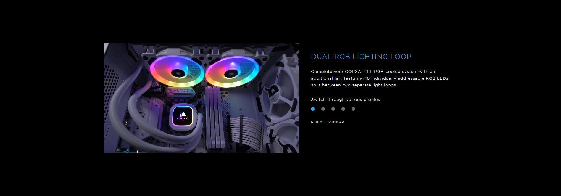 Fan Case Corsair LL120 RGB 120mm Dual Light Loop RGB LED 3 Fan Pack with Lighting Node PRO - White đem lại vô vàn hiệu ứng thú vị