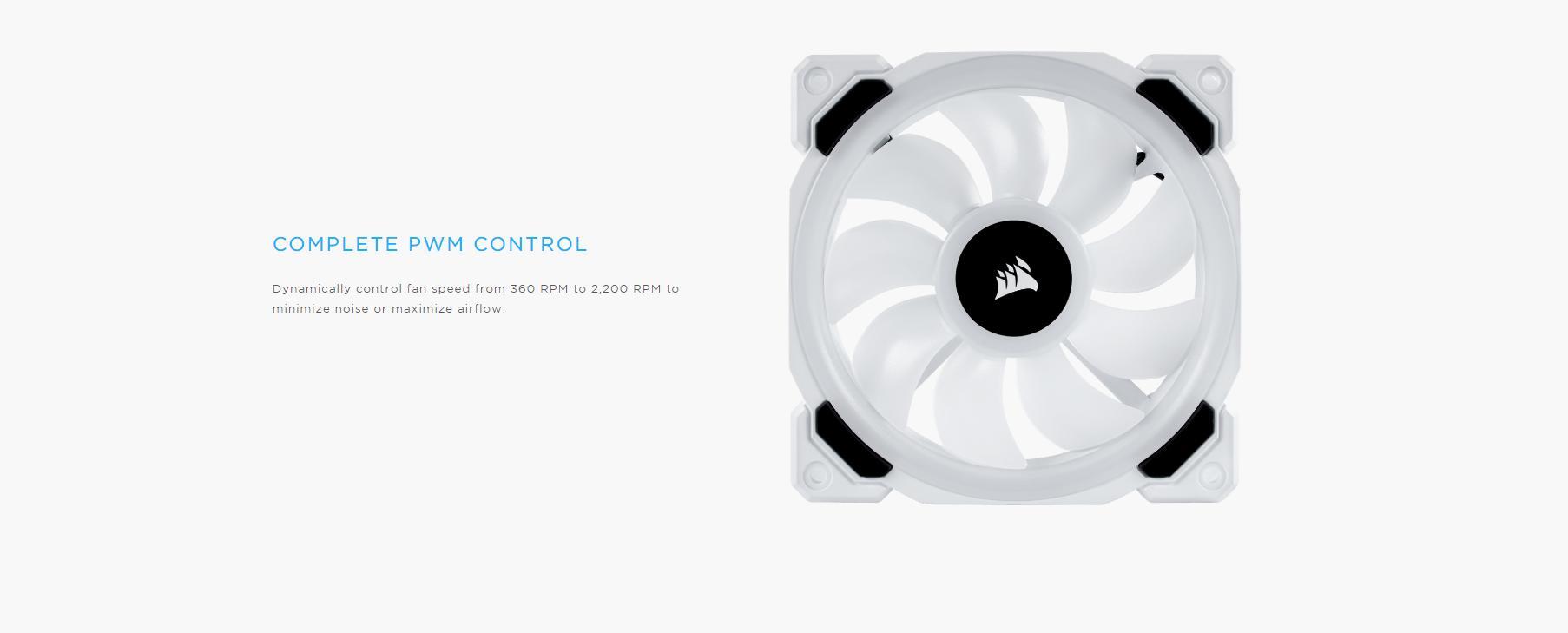 Fan Case Corsair LL120 RGB 120mm Dual Light Loop RGB LED 3 Fan Pack with Lighting Node PRO - White có khả năng tuỳ chỉnh tốc độ quạt từ 360RPM đến 2200RPM để giảm độ ồn cũng như tối ưu lượng gió thổi