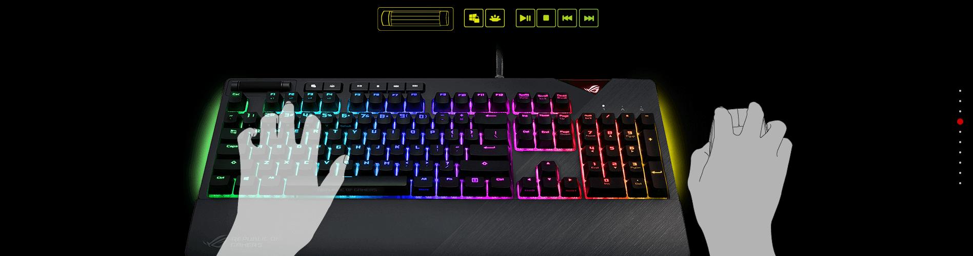 Bàn phím cơ Asus ROG Strix Flare Pink (XA01) có các phím multimedia tiện lợi