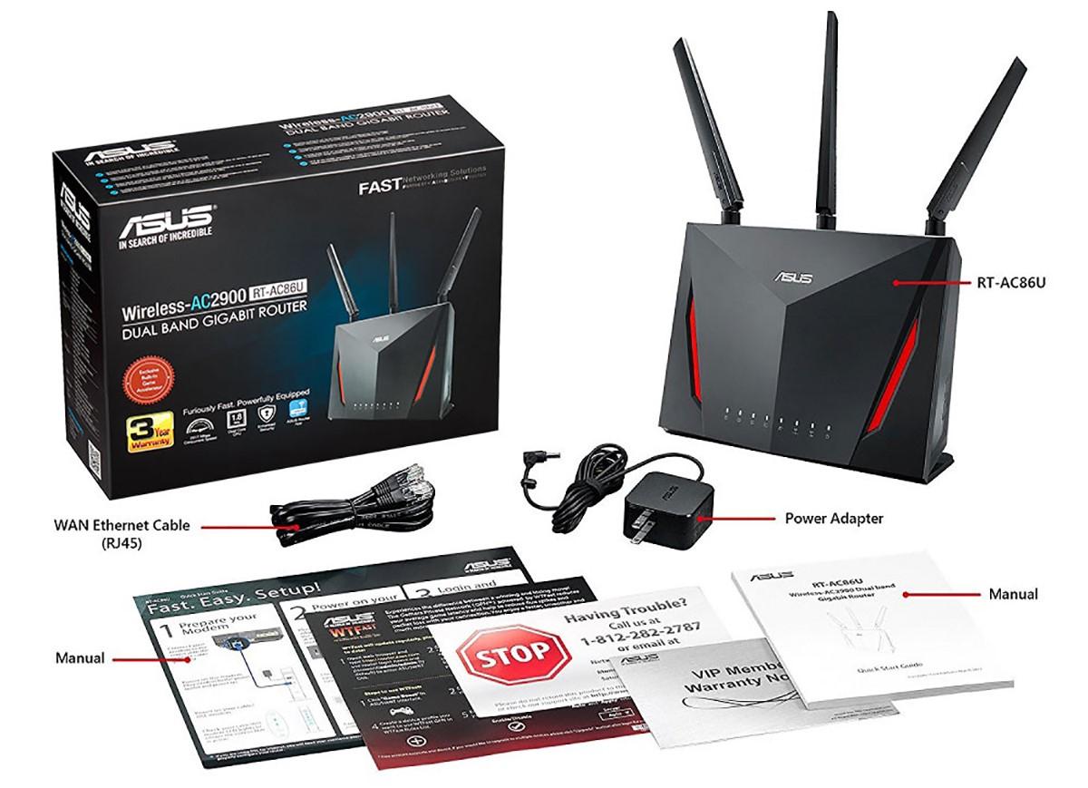 Bộ Mesh wifi ASUS RT-AC86U (2-Pack) AC2900, Gaming Router wifi , MU-MIMO, AIMESH