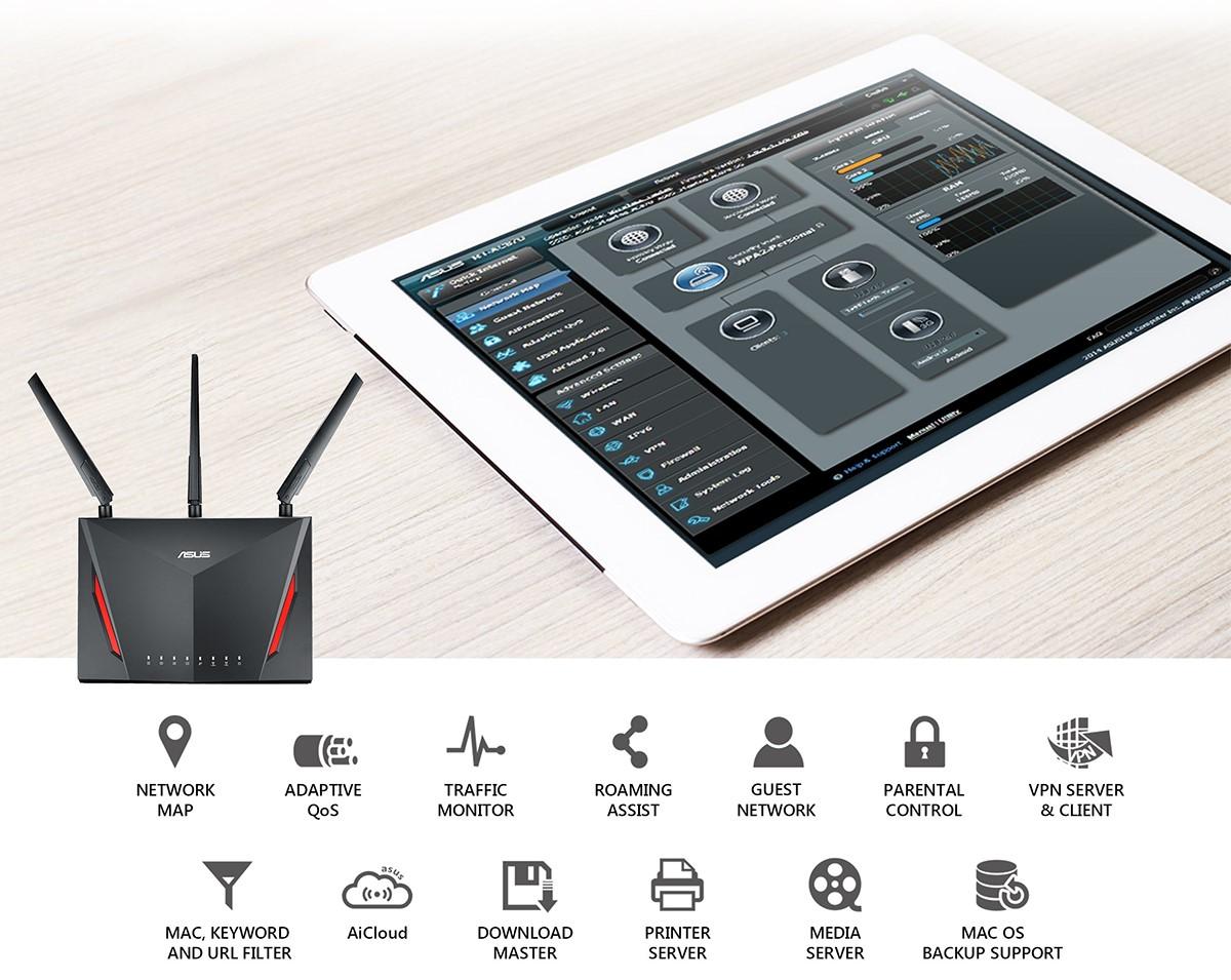Bộ Mesh wifi ASUS RT-AC86U (2-Pack) AC2900, Gaming Router wifi , MU-MIMO, AIMESH 1