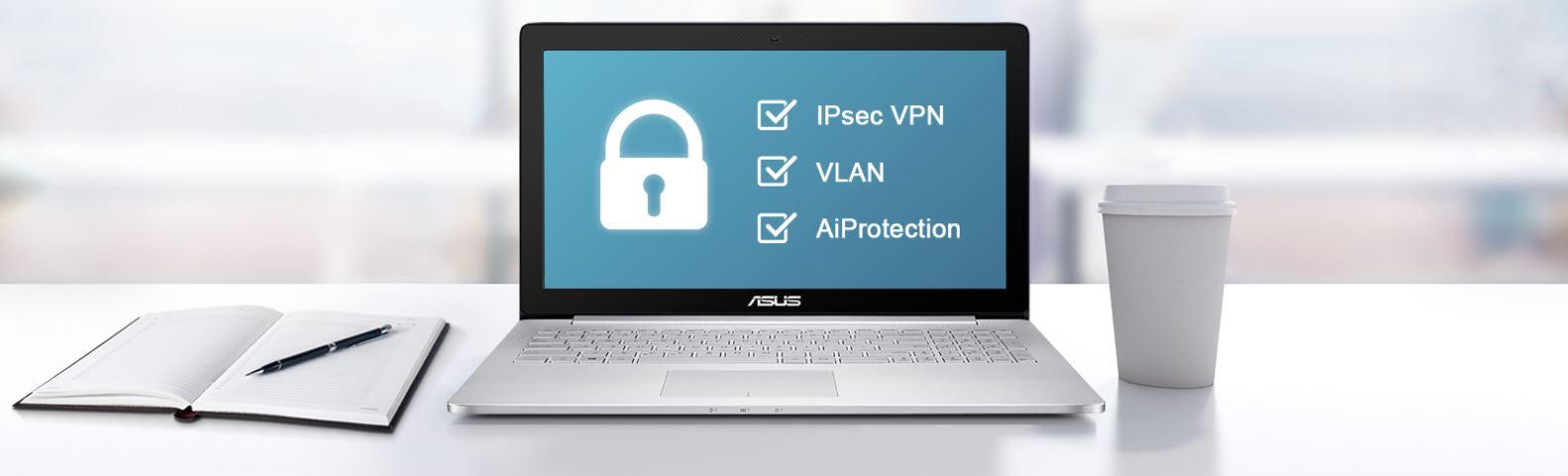 Router wifi ASUS BRT-AC828 (Chuẩn Doanh Nghiệp) AC2600 MU-MIMO, 2 cổng WAN VPN, bảo vệ mạng AiProtection 6