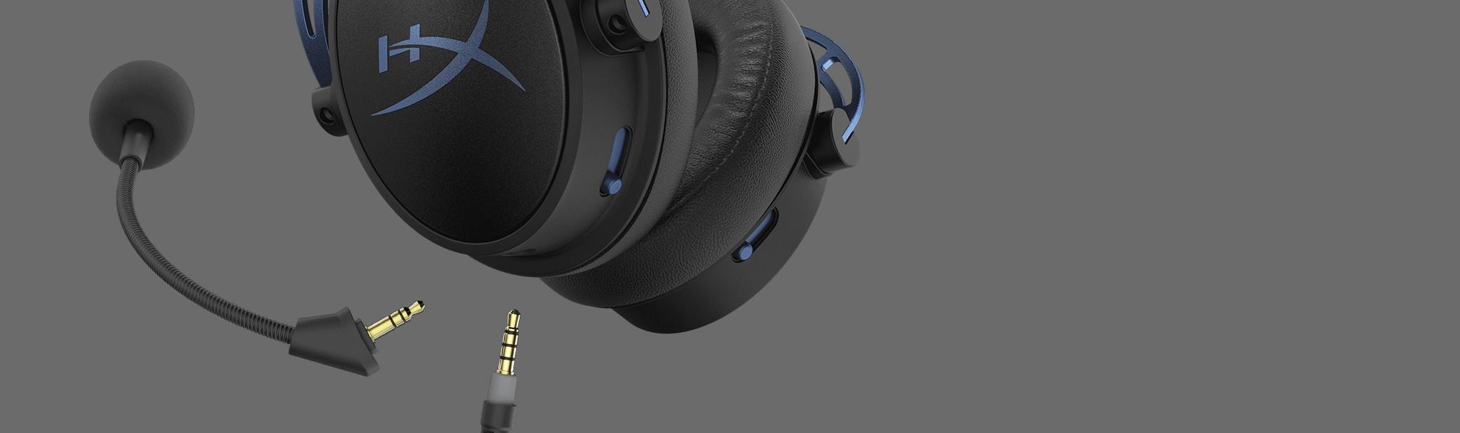 Tai nghe Kingston HyperX Cloud Alpha S Blue (HX-HSCAS-BL/WW) trang bị micro và dây cáp có thể tháo rời