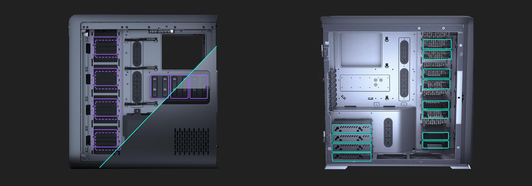 Phanteks Enthoo 719 ( Luxe II ) , Tempered Glass, DRGB Ligting, Satin khả năng lưu trữ