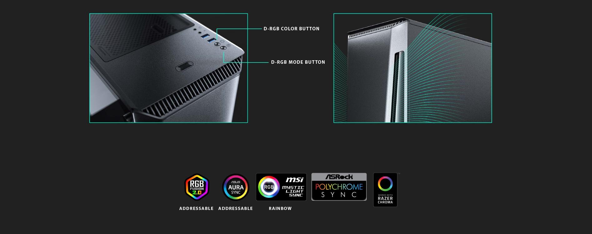 Phanteks Eclipse P360X Tempered Glass, Digtial RGB Lighting thiết kế nút bấm phía trước