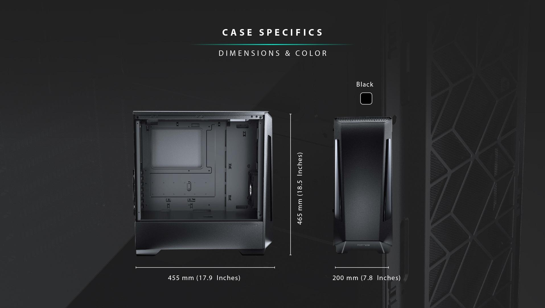 Phanteks Eclipse P360X Tempered Glass, Digtial RGB Lighting kích thước