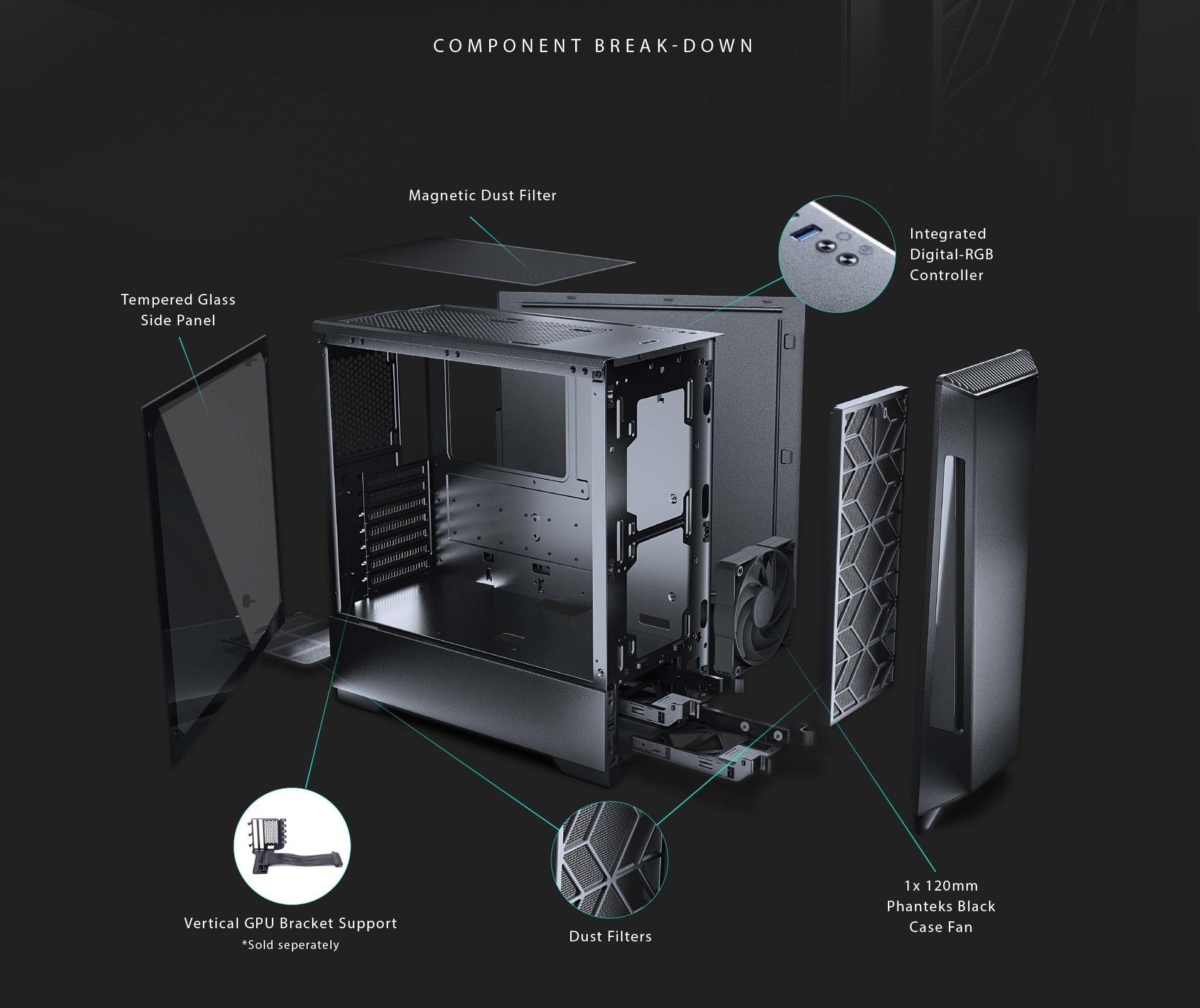 Phanteks Eclipse P360X Tempered Glass, Digtial RGB Lighting phụ kiện tháo rời