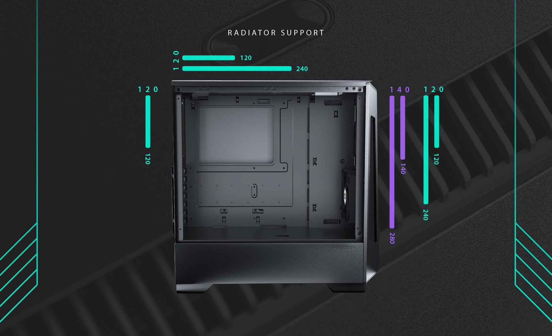 Phanteks Eclipse P360X Tempered Glass, Digtial RGB Lighting radiator