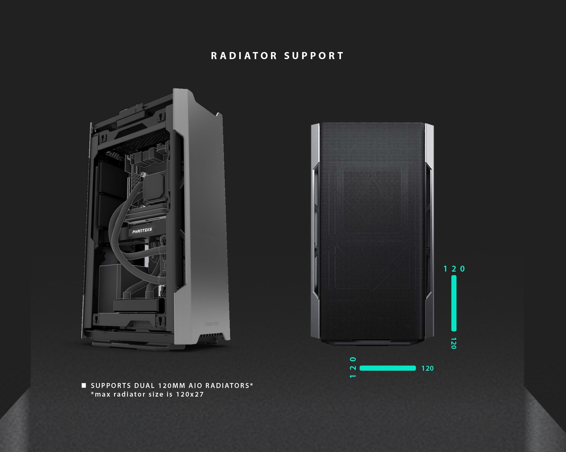 Phanteks Enthoo Evolv Shift Air Fabric Mesh Panel Anthracite hỗ trợ Radiator