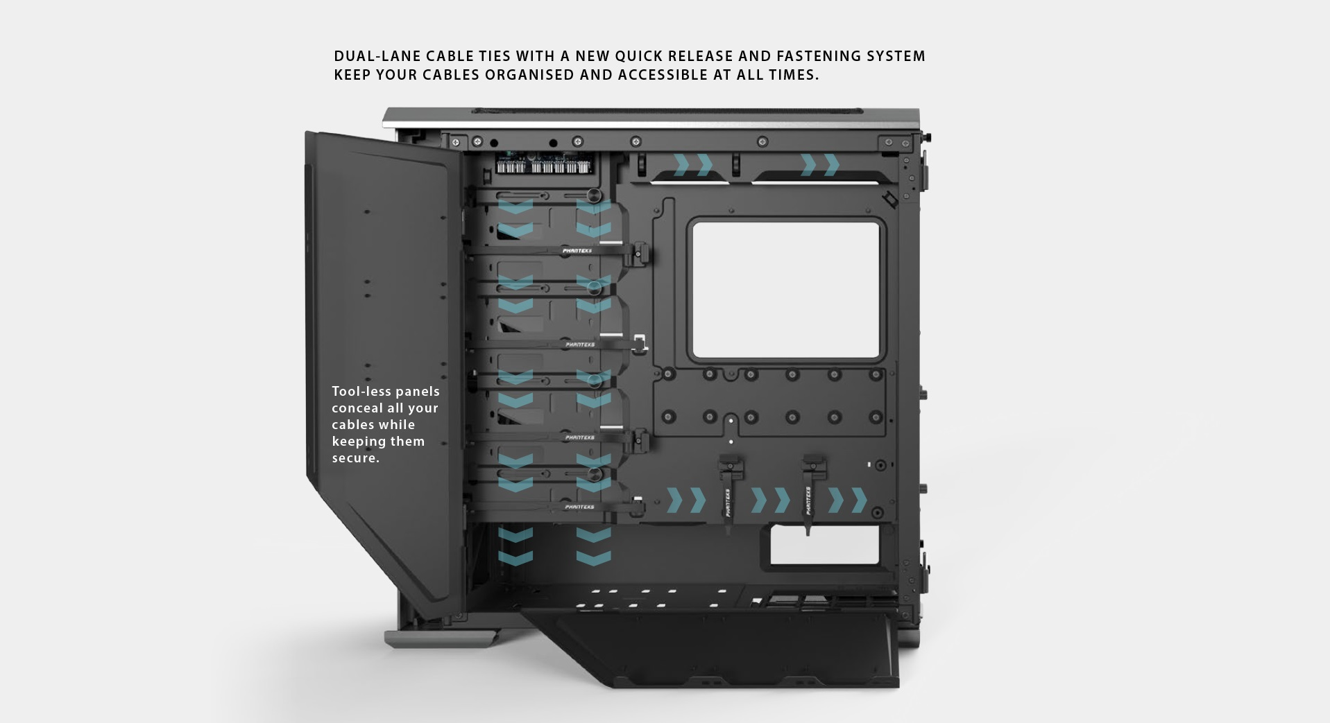 Phanteks Enthoo Evolv X ATX Case, Tempered Glass Window - Black đi dây gọn gàng