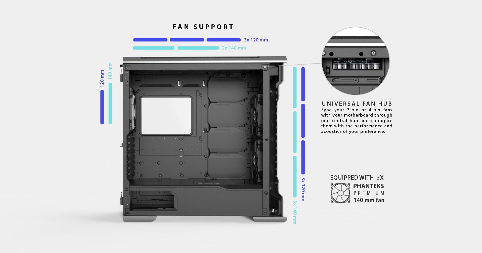 Phanteks Enthoo Evolv X ATX Case, Tempered Glass Window - Black hỗ trợ fan và rad