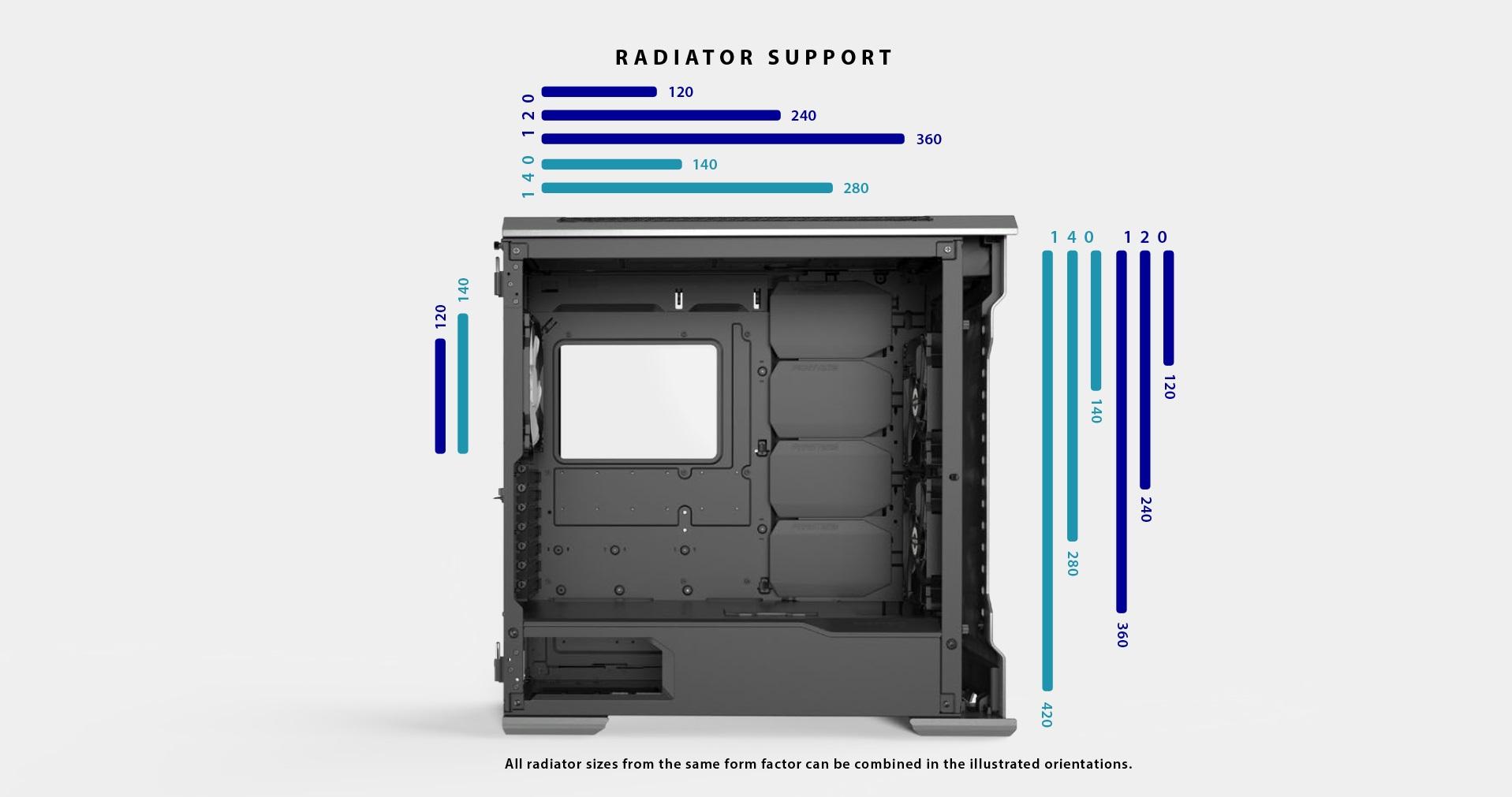 Phanteks Enthoo Evolv X ATX Case, Tempered Glass Window - Black hỗ trợ fan và rad 2