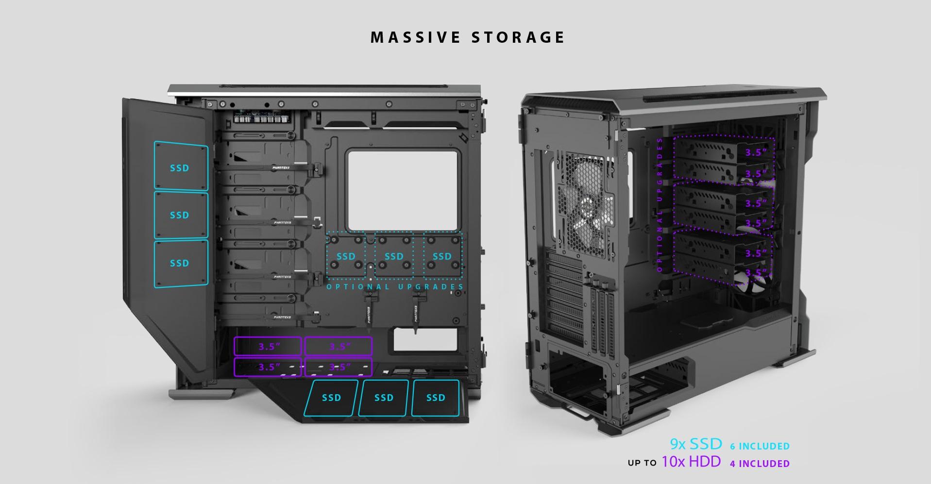 Phanteks Enthoo Evolv X ATX Case, Tempered Glass Window - Black khả năng lưu trữ số lượng lớn
