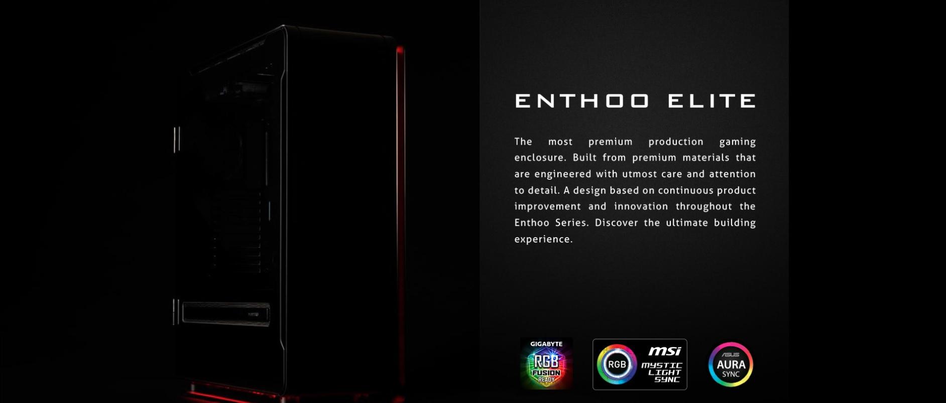 Phanteks Enthoo Elite Extreme RGB Lighting, Tempered Glass Window, Dual System Support giới thiệu