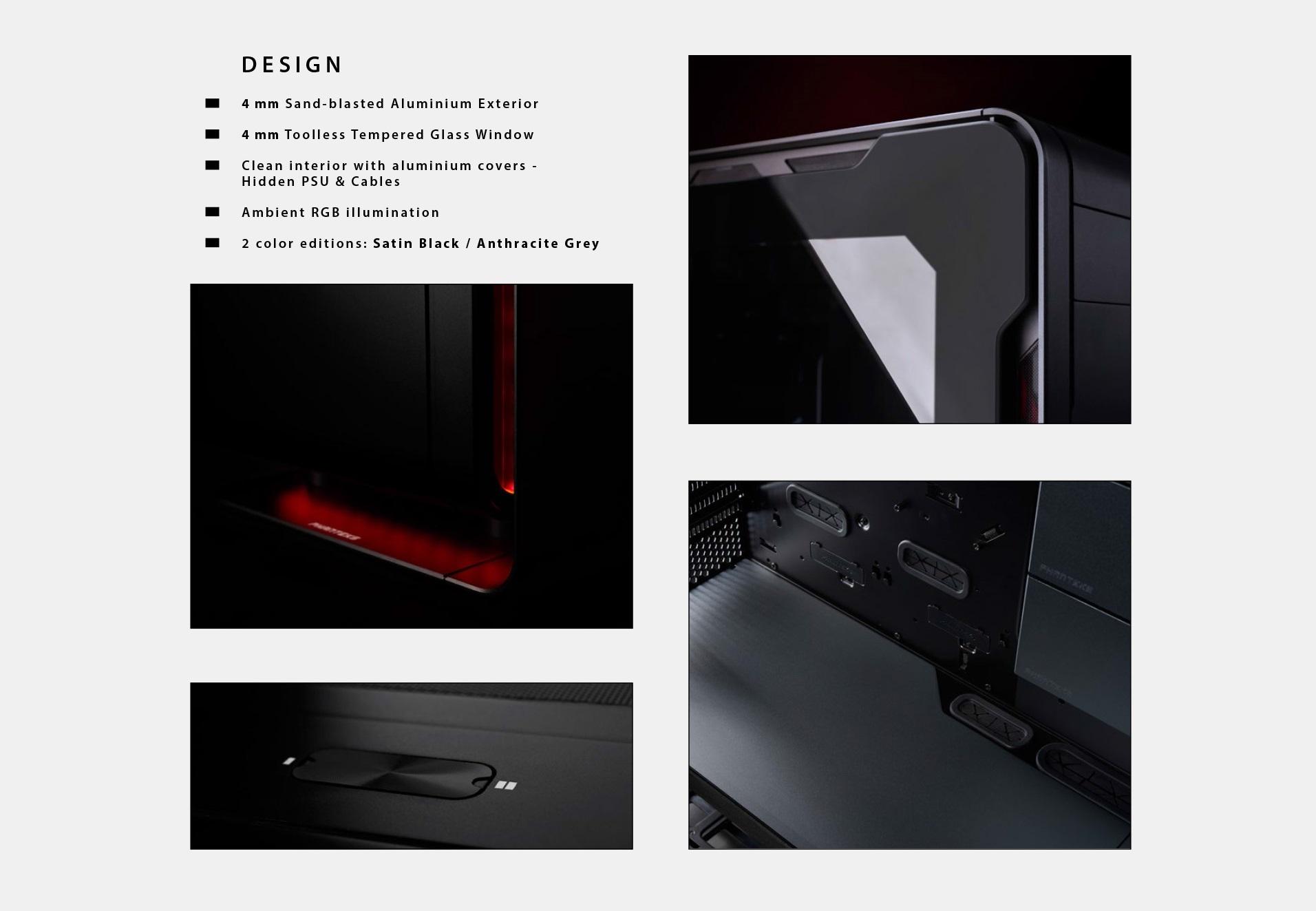 Phanteks Enthoo Elite Extreme RGB Lighting, Tempered Glass Window, Dual System Support thiết kế
