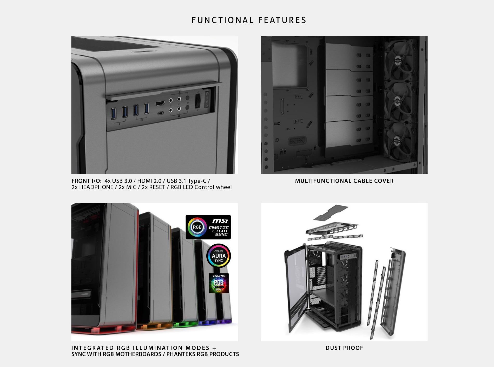Phanteks Enthoo Elite Extreme RGB Lighting, Tempered Glass Window, Dual System Support thiết kế 3