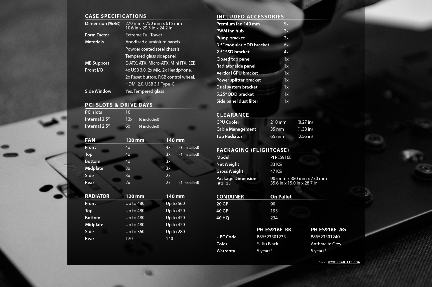 Phanteks Enthoo Elite Extreme RGB Lighting, Tempered Glass Window, Dual System Support thông số kĩ thuật