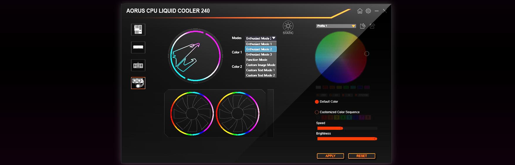 Tản nhiệt nước Gigabyte AORUS LIQUID COOLER 240 tuỳ biến dễ dàng với AORUS Engine 2.0 và RGB Fusion 2.0