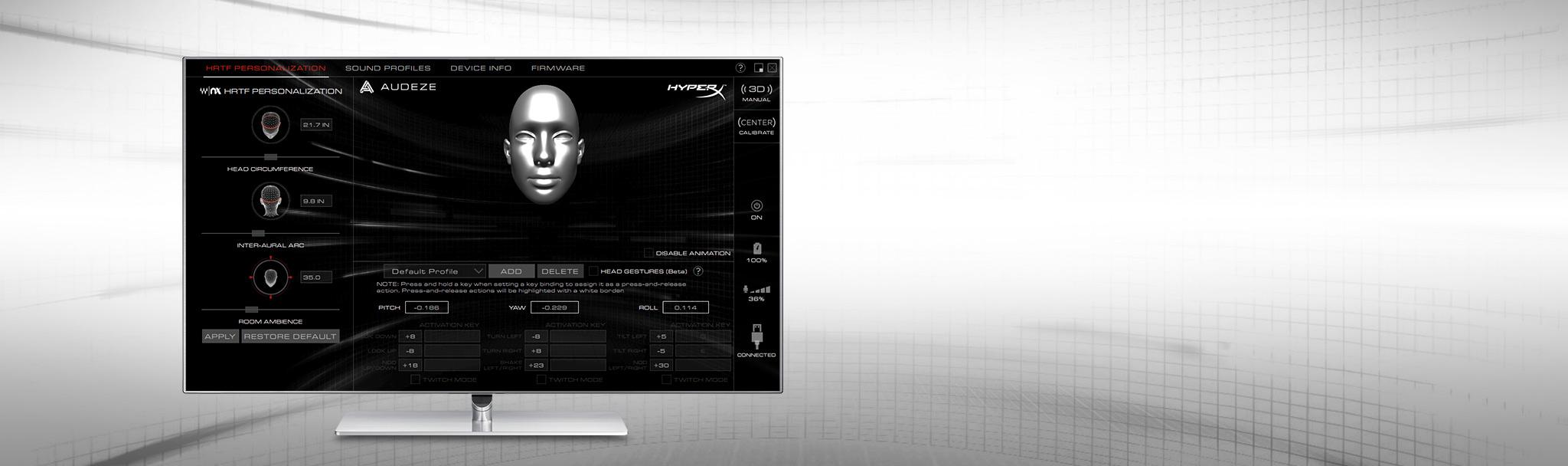 Tai nghe Kingston HyperX Cloud Orbit S Gaming Black (HX-HSCOS-GM/WW) có thể tuỳ chỉnh âm qua phần mềm