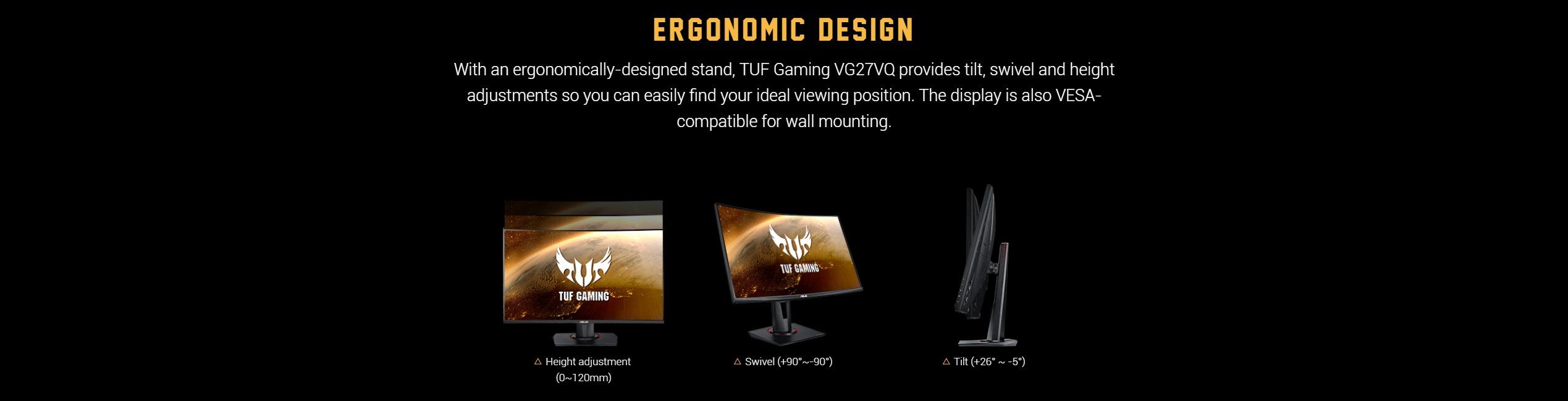 Màn hình ASUS TUF Gaming VG27VQ thiết kế