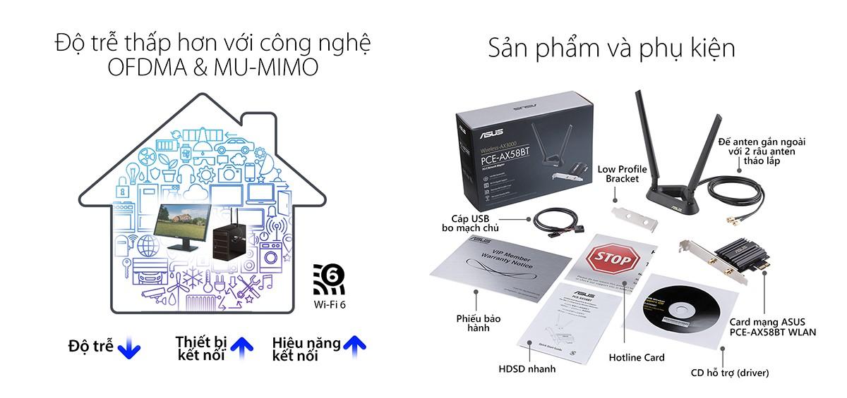 Card mạng wifi PCI Express Asus PCE-AX58BT
