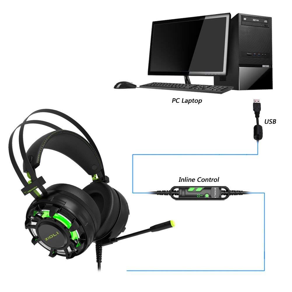 Tai nghe Zidli ZH-7 7.1 LED 7 màu USB có thiết kế hiện đại