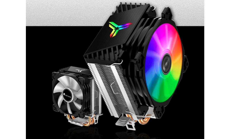 Tản nhiệt khí Jonsbo CR-1200 với phần nắp phía trên có logo trang bị đèn ARGB khi kết hợp với hiệu ứng chuyển động của quạt sẽ đem lại hiệu ứng bắt mắt.