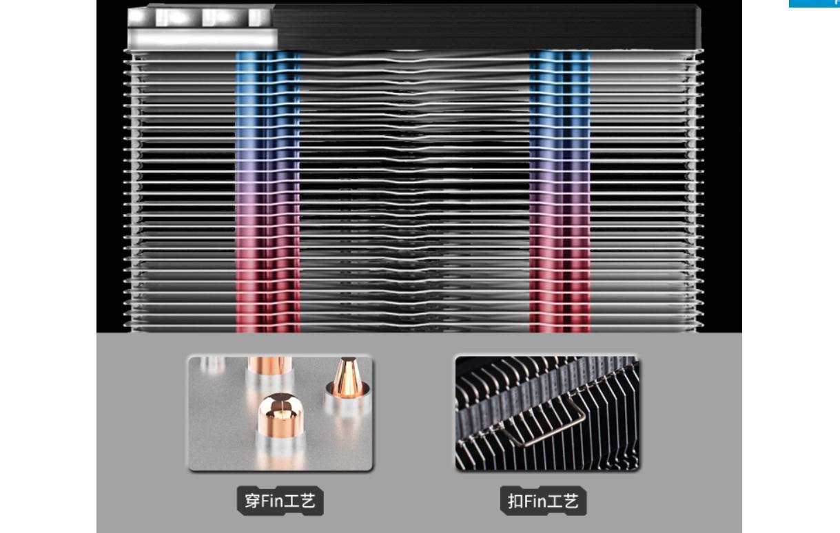 Tản nhiệt khí Jonsbo CR-1200 sử dụng phương pháp truyền nhiệt qua các ống dẫn nhiệt 6mm tới các tấm lá nhôm.