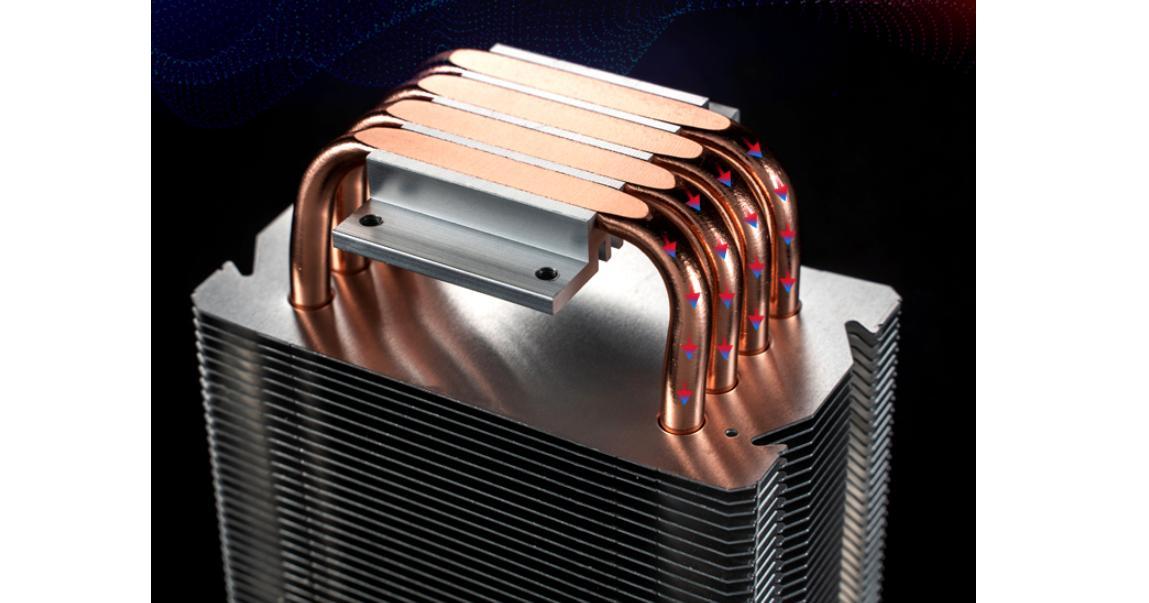 Tản nhiệt khí Jonsbo CR-1400 với các ống đồng tiếp xúc trực tiếp với bề mặt của CPU, cho khả năng hấp thụ nhiệt tối đa.