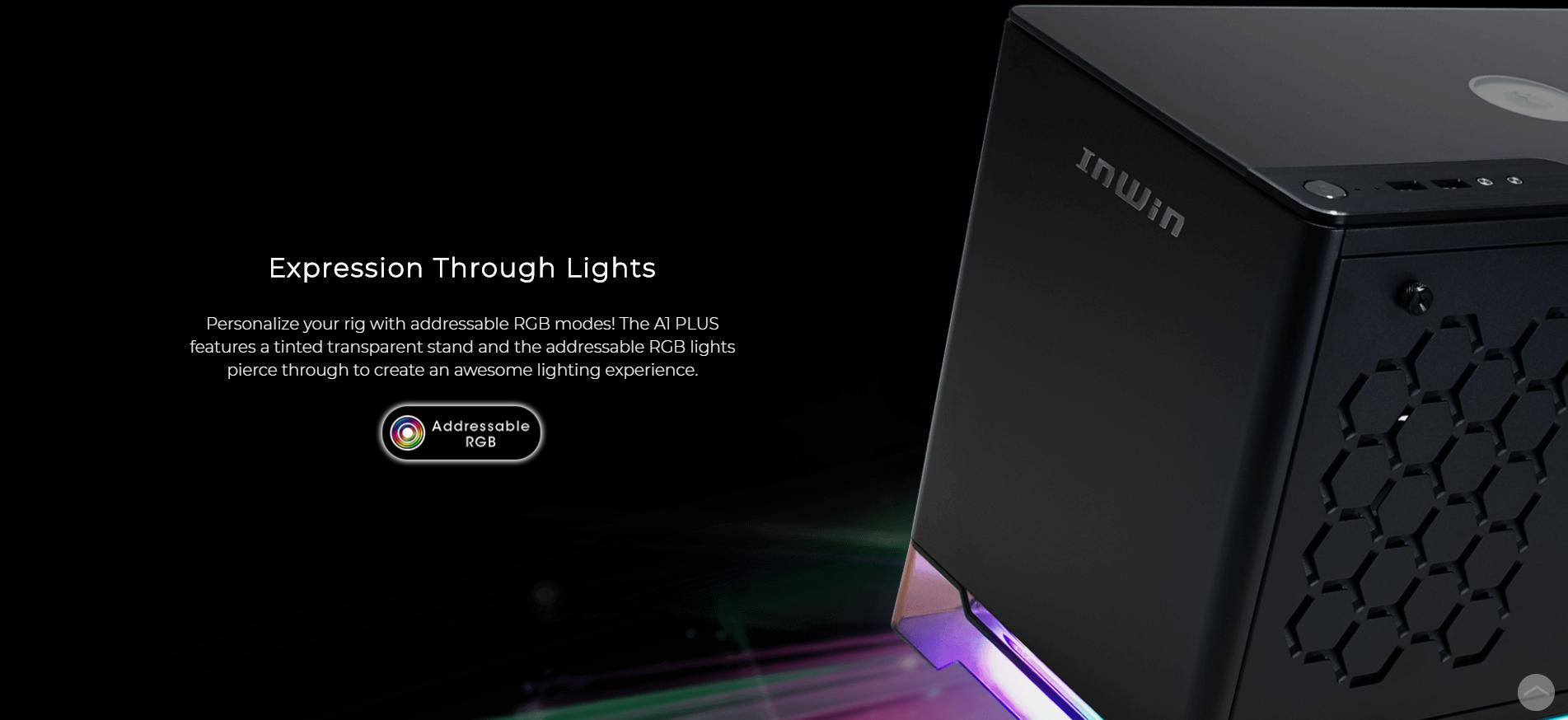 InWin A1 Plus White QI Charger - Full Side Tempered Glass Mini giới thiệu hệ thống ánh sáng
