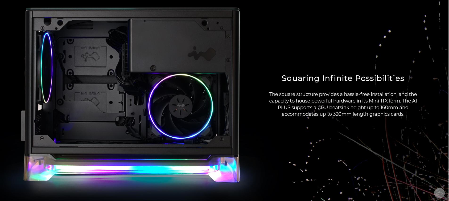 InWin A1 Plus White QI Charger - Full Side Tempered Glass Mini giới thiệu không gian bên trong