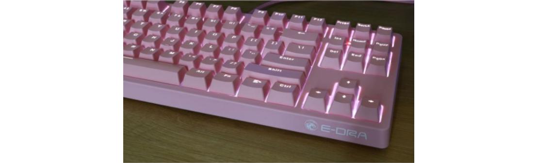 Bàn phím cơ E-Dra EK387 Mechanical Gaming Outemu Brown switch Pink Case White Led USB trang bị dải led 1 màu nổi bật