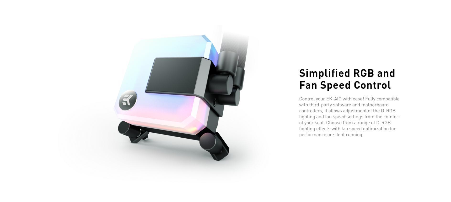 Tản nhiệt nước EK-AIO 240 D-RGB có thể điều chỉnh đèn RGB và tốc độ quạt, bơm đơn giản