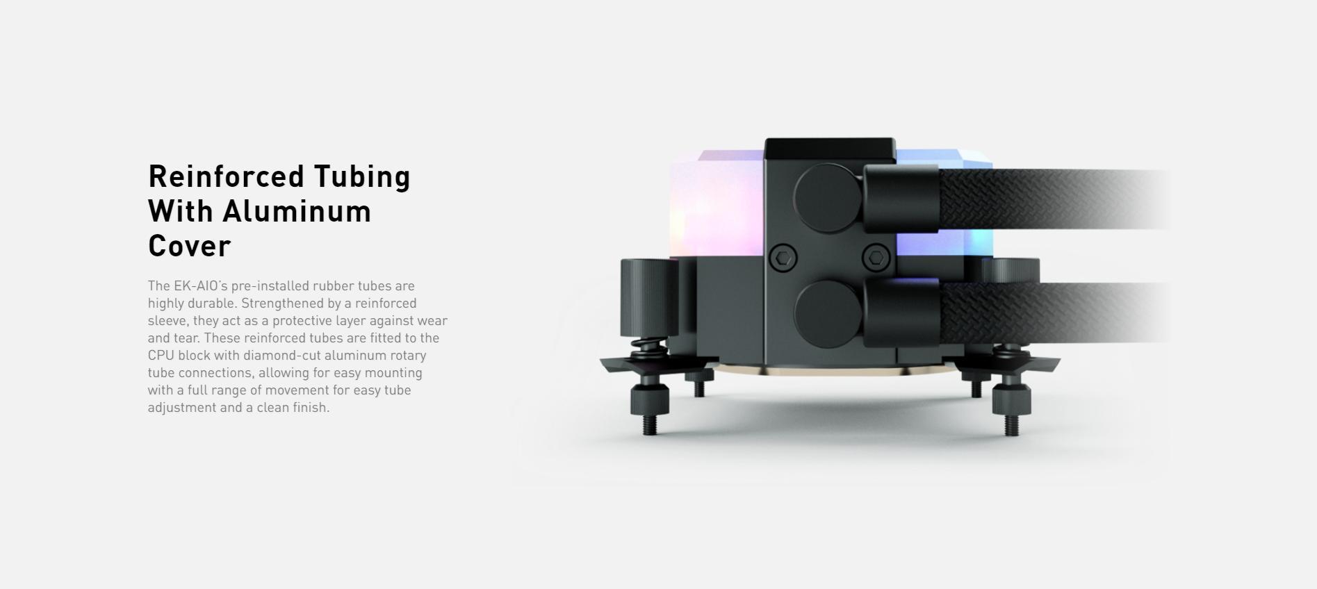 Tản nhiệt nước EK-AIO 240 D-RGB có phần dây dẫn bọc dù cứng cáp và chắc chắn