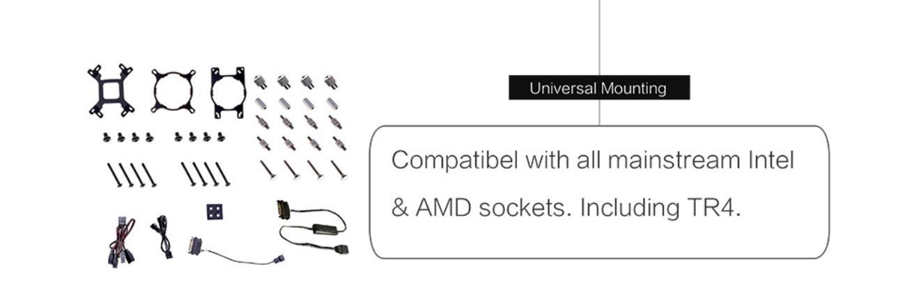 Tản Nhiệt Nước ID-Cooling ZOOMFLOW 240X ARGB hỗ trợ đầy đủ các loại socket bao gồm cả TR4