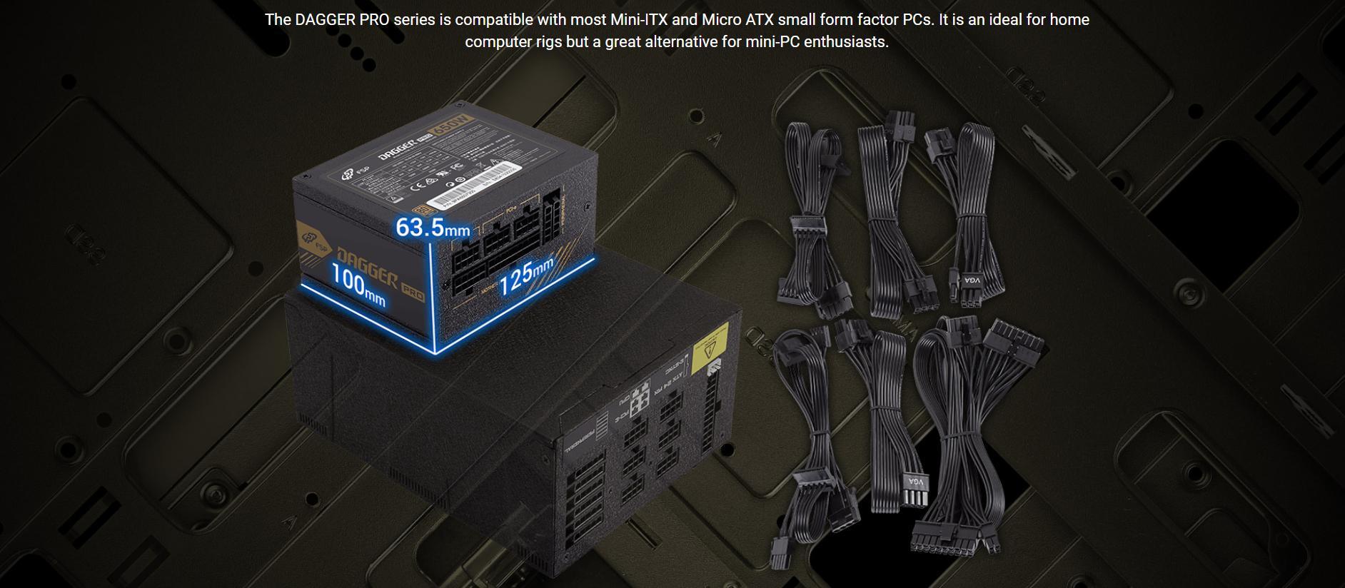 FSP Power Supply DAGGER PRO Series Model SDA2-650 - Active PFC (80 Plus Gold/Full Modular/Màu Đen/SFX) giới thiệu 2