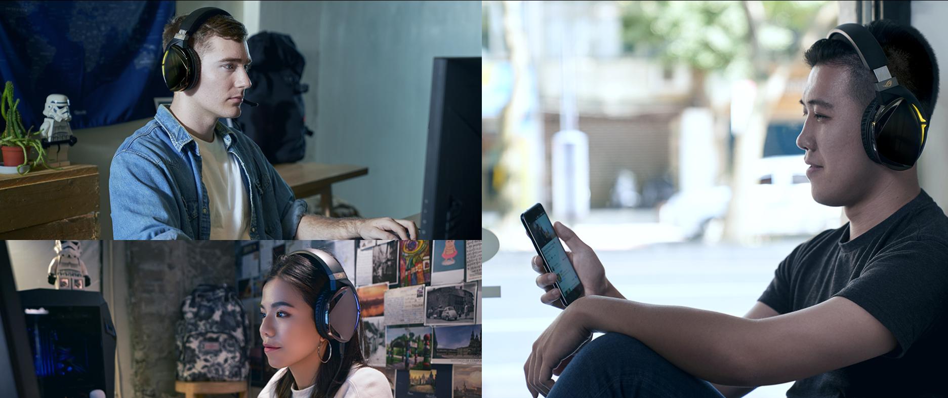 Tai nghe Bluetooth Asus ROG Strix Fusion 700 Gaming sử dụng chế độ bluetooth tiện lợi