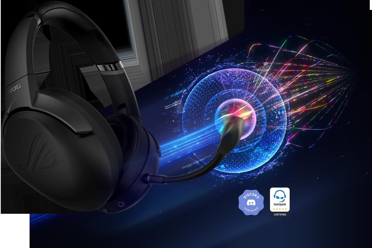 Tai nghe không dây Asus ROG STRIX GO 2.4 tích hợp micro với công nghệ chống ồn bằng AI