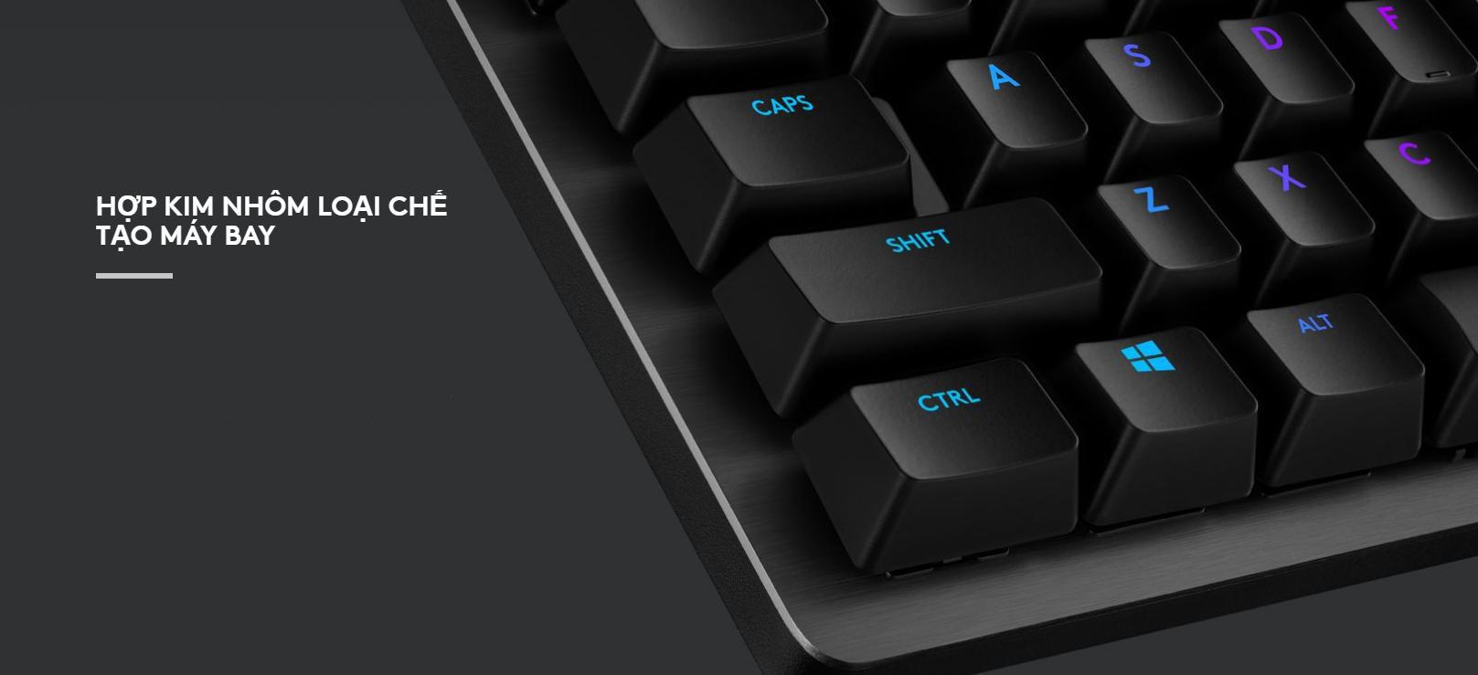 Bàn phím cơ Logitech G512 Lightsync RGB GX Blue Clicky switch được cấu tạo từ vật liệu cao cấp