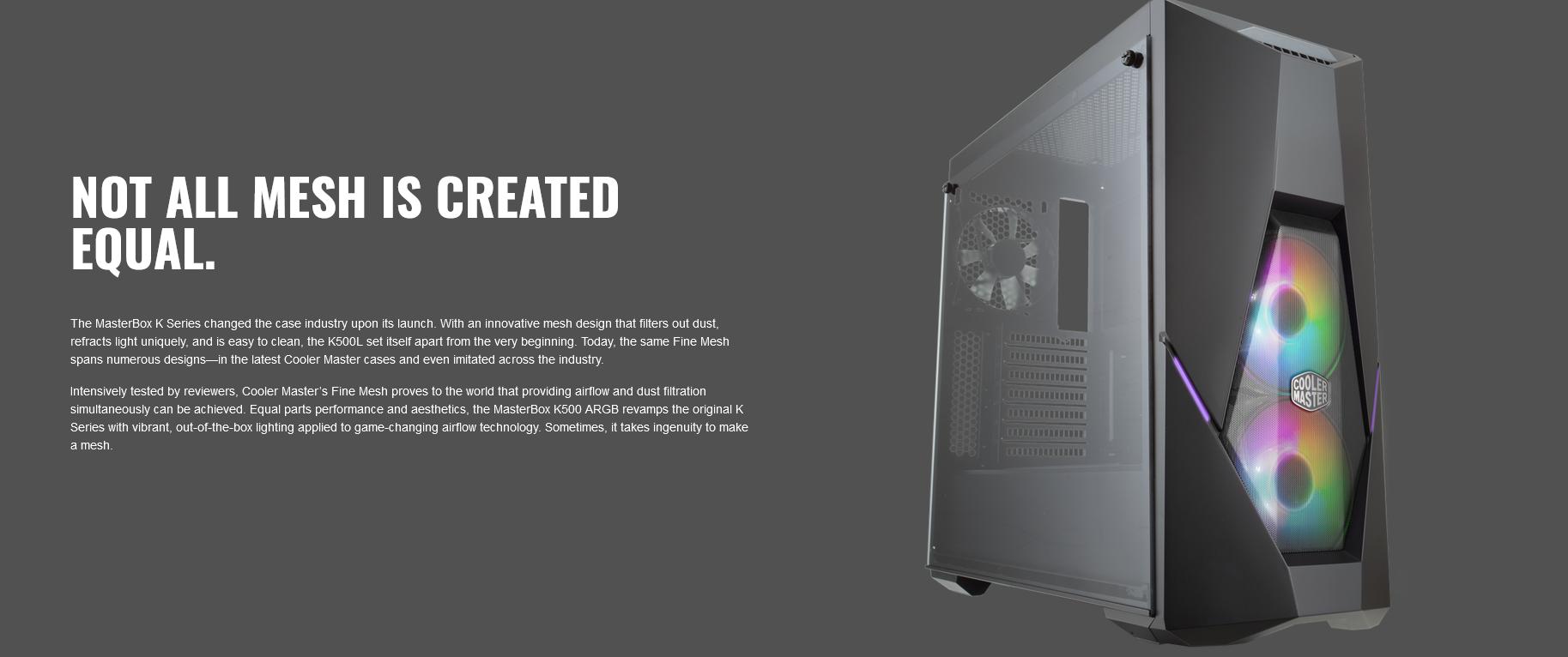 Case Cooler Master MasterBox K500 TG ARGB (Mid Tower/Màu đen/Led ARGB) giới thiệu thiết kế cá tính
