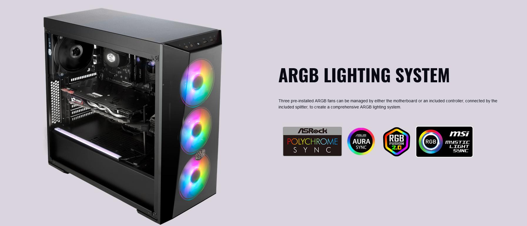 Case Cooler Master MasterBox Lite 5 ARGB (Mid Tower/Màu đen/Led ARGB giới thiệu 2
