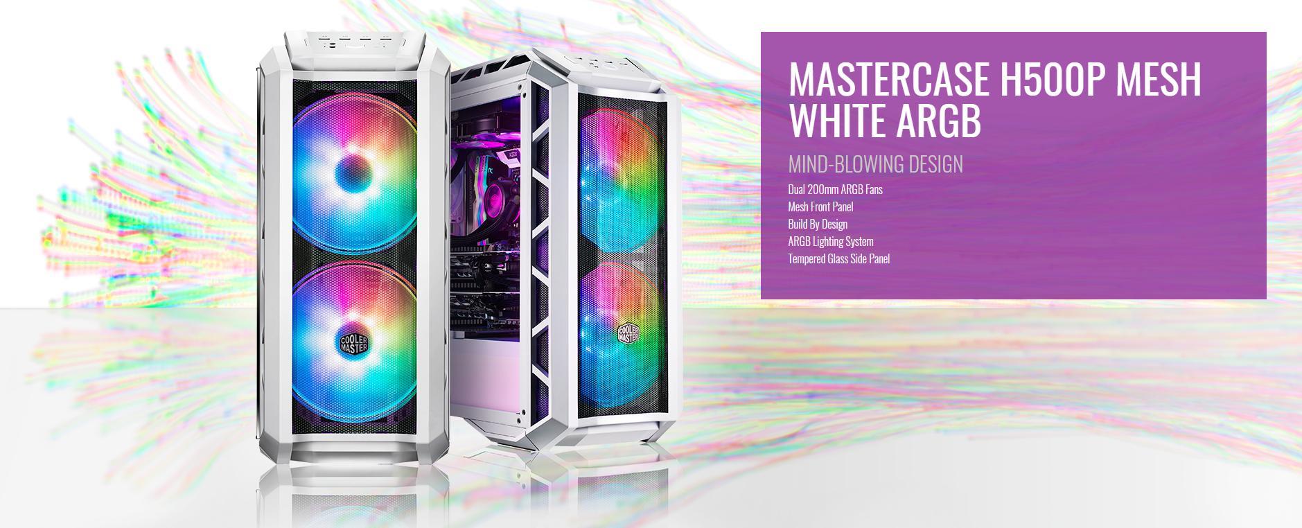 Case Cooler Master MasterCase H500P TG Mesh White ARGB (Mid Tower/Màu trắng/Led ARGB/Mặt lưới) giới thiệu 3