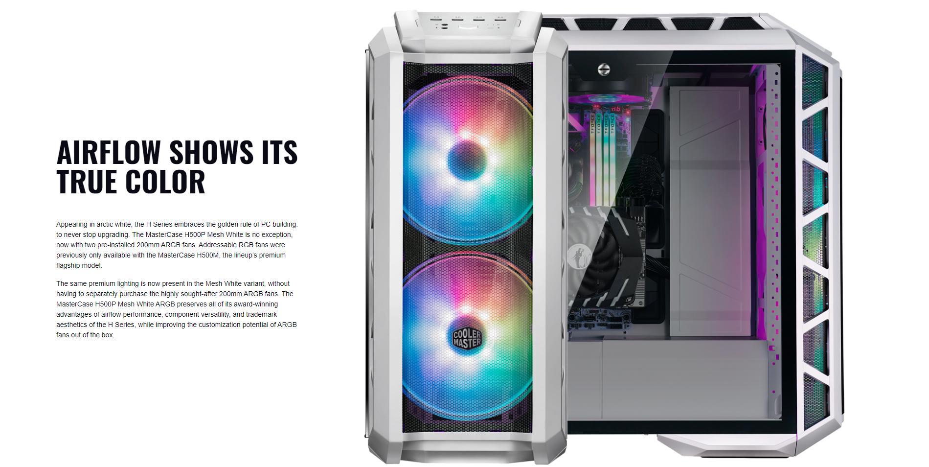 Case Cooler Master MasterCase H500P TG Mesh White ARGB (Mid Tower/Màu trắng/Led ARGB/Mặt lưới) giới thiệu 4