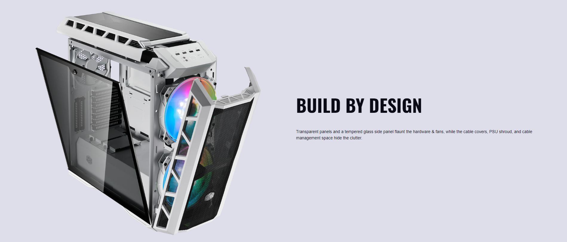 Case Cooler Master MasterCase H500P TG Mesh White ARGB (Mid Tower/Màu trắng/Led ARGB/Mặt lưới) giới thiệu 6